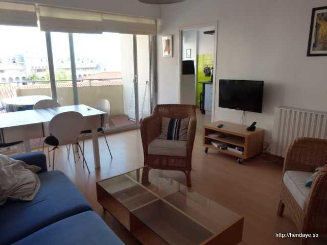Vue du salon/séjour, du balcon et entrée de la cuisine